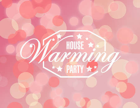 house warming: house warming party pink bokeh background sign illustration design graphic