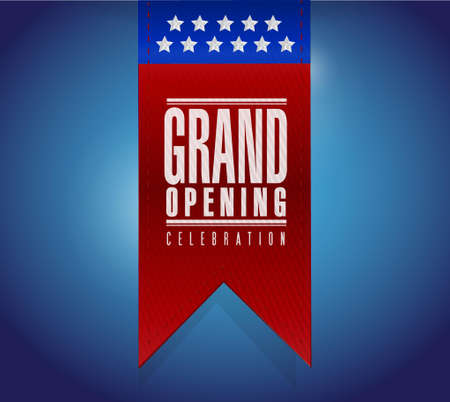 opening: grand opening stamp sign banner illustration design Stock Photo