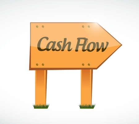 cash flow: cash flow wood sign concept illustration design graphic icon