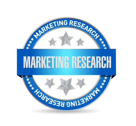 marketing research: Marketing Research seal sign concept illustration design graphic
