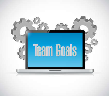 team concept: Team goals tech computer sign concept illustration design graphic Illustration