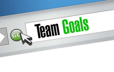 web browser: Team goals web browser sign concept illustration design graphic