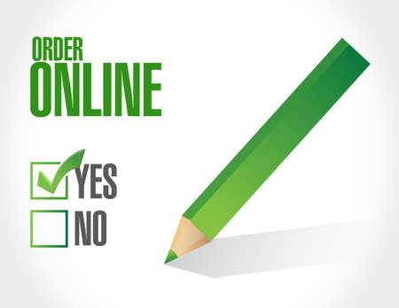 order online: Order online approval check mark sign concept illustration design graphic