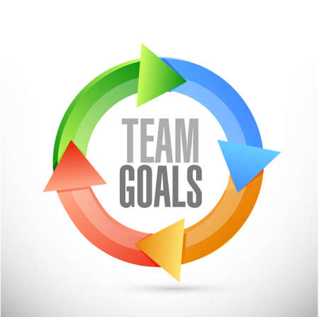 team concept: Team goals color cycle sign concept illustration design graphic
