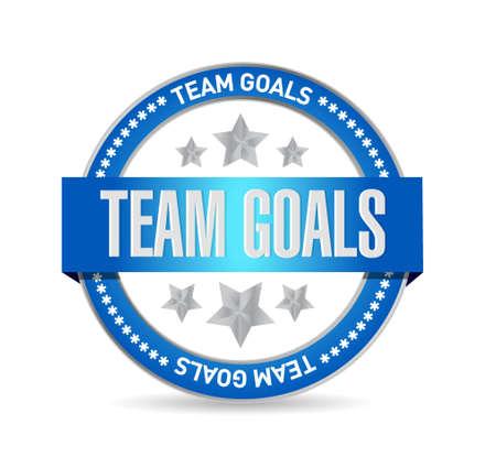 seal stamp: Team goals seal stamp sign concept illustration design graphic