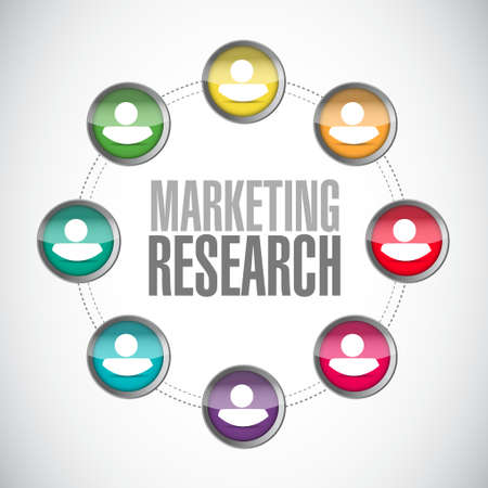 marketing research: Marketing Research team sign concept illustration design graphic