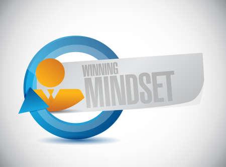 mindset: winning mindset people cycle sign concept illustration design graphic icon Illustration