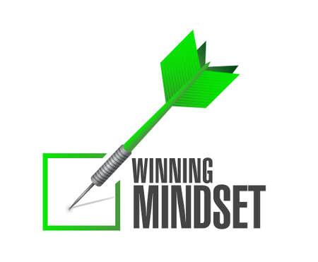 mindset: winning mindset check dart sign concept illustration design graphic icon Illustration