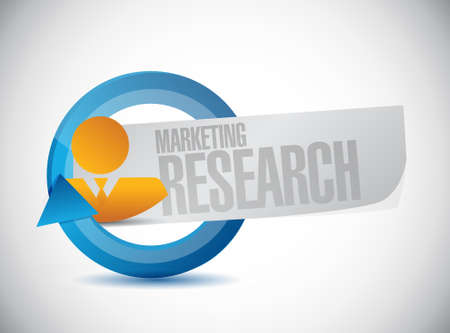 marketing research: Marketing Research people cycle sign concept illustration design graphic Illustration