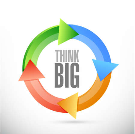 think big: think big color cycle sign concept illustration design graphic