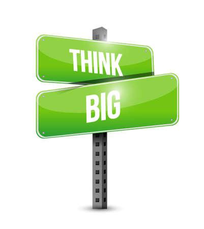 multinational: think big street sign concept illustration design graphic Illustration
