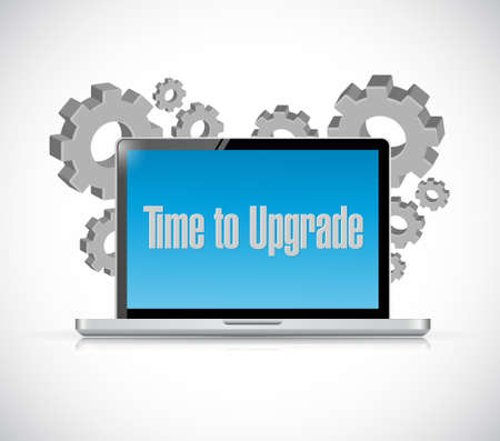 computer tech: time to upgrade tech computer sign concept illustration design graphic Illustration