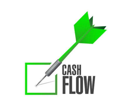 cash flow: cash flow check dart sign concept illustration design graphic icon Illustration