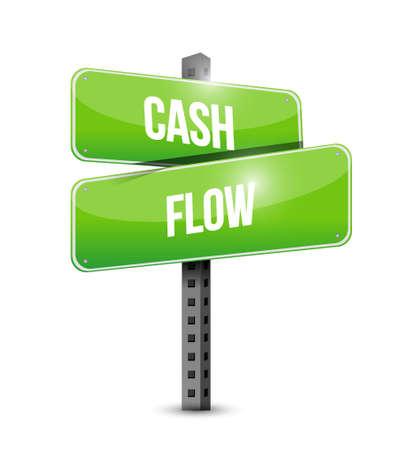 cash flow: cash flow intersection road sign concept illustration design graphic icon