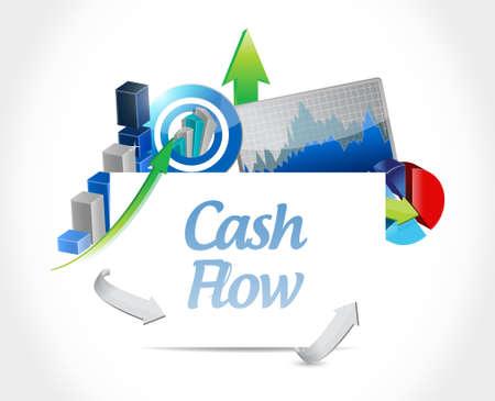 cash: flujo de caja gráfico de negocio signo concepto de ilustración, diseño gráfico icónico Vectores