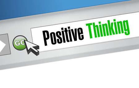 web browser: positive thinking web browser sign concept illustration design graphic