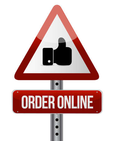 order online: Order online road sign concept illustration design graphic