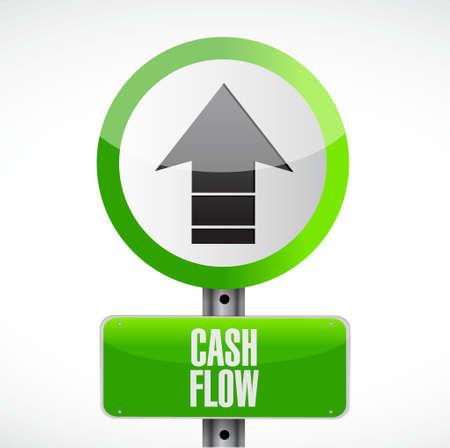 cash flow up arrow road sign concept illustration design graphic icon