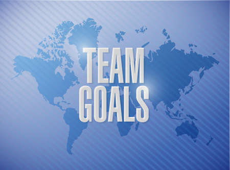 intent: Team goals world map text sign concept illustration design graphic