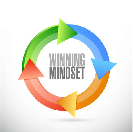 mindset: winning mindset cycle sign concept illustration design graphic icon