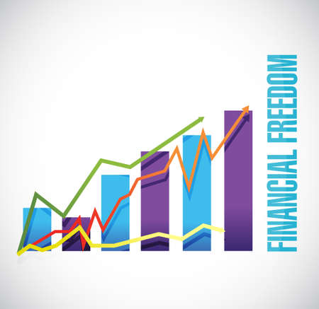 financial freedom: financial freedom business graph sign concept illustration design graphic