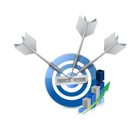 home finances: financial freedom blue graph target sign concept illustration design graphic