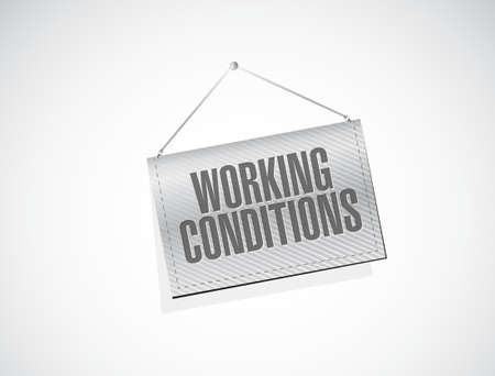 hanging banner: working conditions hanging banner sign concept illustration design graphic