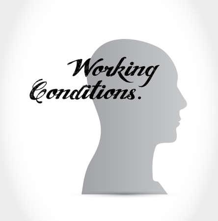 werkomstandigheden hoofd teken concept, illustratie, grafisch Stock Illustratie