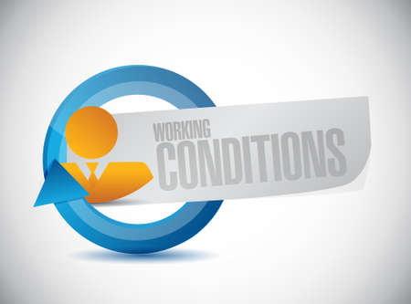 werkomstandigheden avatar teken concept, illustratie, grafisch Stock Illustratie