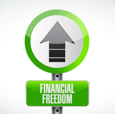 home finances: financial freedom road sign concept illustration design graphic