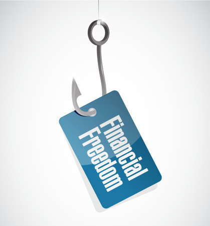 financial freedom: financial freedom fishing hook sign concept illustration design graphic