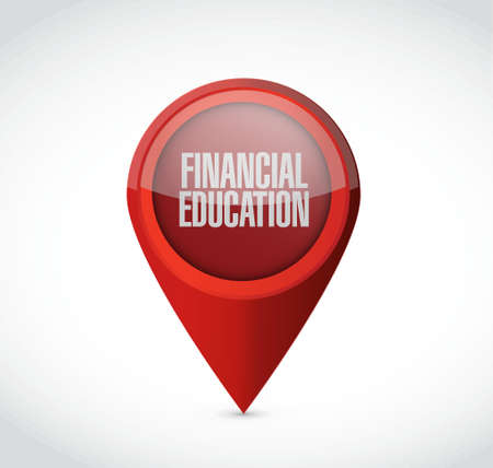 financial education pointer sign concept illustration design graphic Vectores