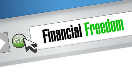 financial freedom: financial freedom online sign concept illustration design graphic