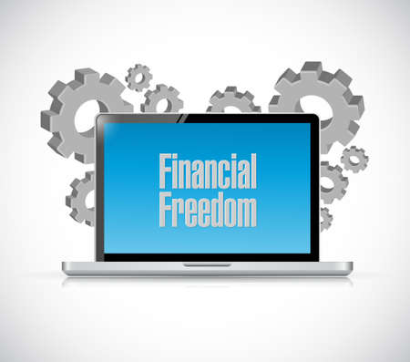 financial freedom: financial freedom technology computer sign concept illustration design graphic Illustration