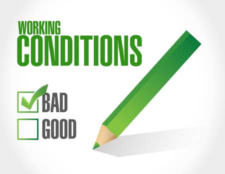 flexible business: bad working conditions sign concept illustration design graphic Illustration