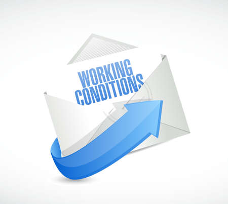 werkomstandigheden e-mail teken concept illustratie grafisch Stock Illustratie