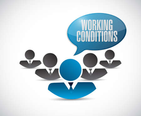 flexible business: working conditions teamwork sign concept illustration design graphic Illustration