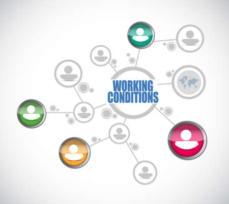 working conditions people network sign concept illustration design graphic