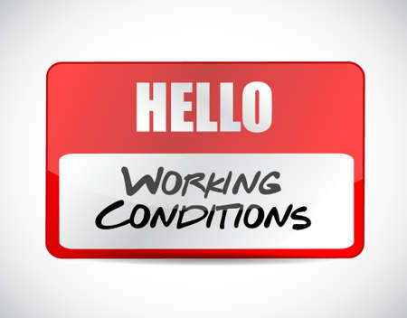 flexible business: working conditions name tag sign concept illustration design graphic Illustration