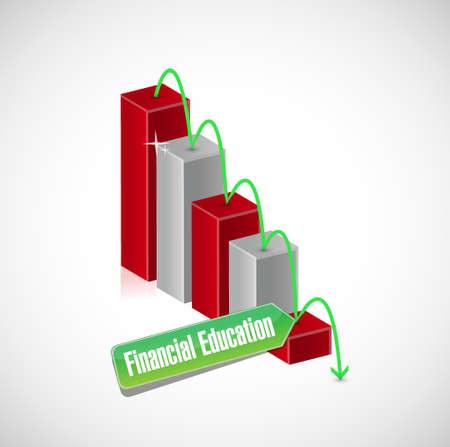 financial education: financial education falling graph sign concept illustration design graphic Illustration