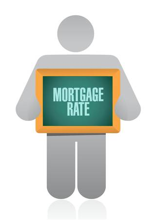 mortgage rate people board sign concept illustration design graphic icon