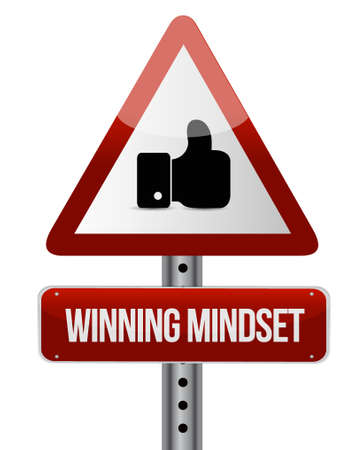 attention: winning mindset like attention sign concept illustration design graphic icon