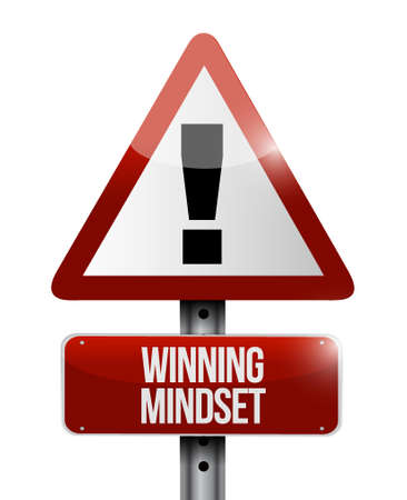 mindset: winning mindset warning road sign concept illustration design graphic icon