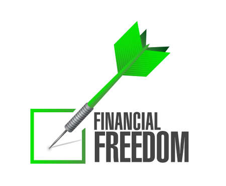 financial freedom: financial freedom check darts sign concept illustration design graphic