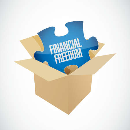 financial freedom: financial freedom puzzle piece and box sign concept illustration design graphic