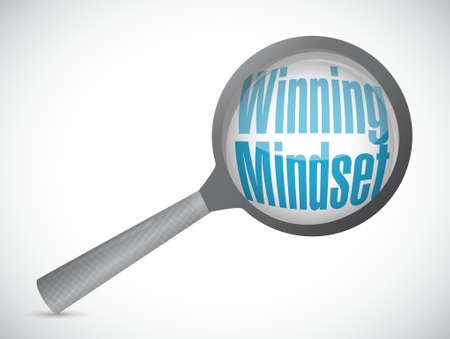 self development: winning mindset magnify glass review sign concept illustration design graphic icon