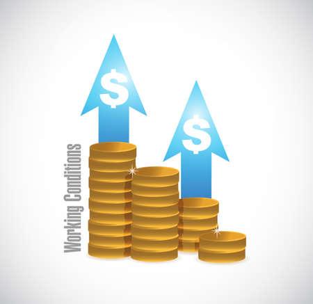 flexible business: working conditions profits graph sign concept illustration design graphic Illustration