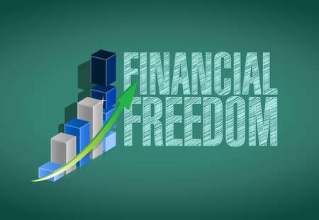 retirement savings: financial freedom graph boards sign concept illustration design graphic