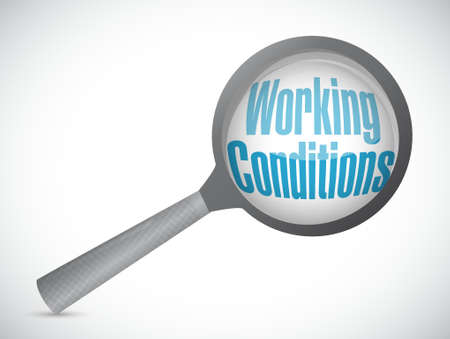 flexible business: working conditions magnify glass sign concept illustration design graphic