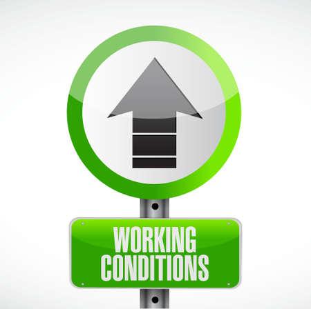 werkomstandigheden pijl omhoog weg begrip teken illustratie grafisch Stock Illustratie